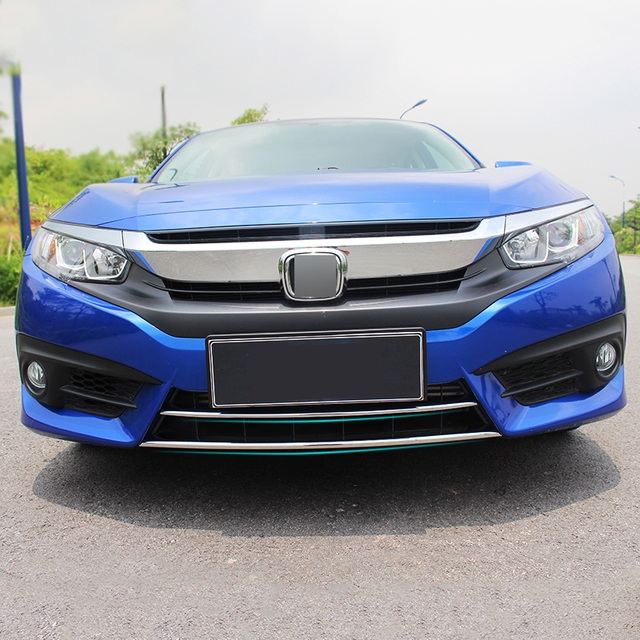 2pcs fit for 2016 2017 honda civic chrome front lower bumper lip grill grille cover insert. Black Bedroom Furniture Sets. Home Design Ideas
