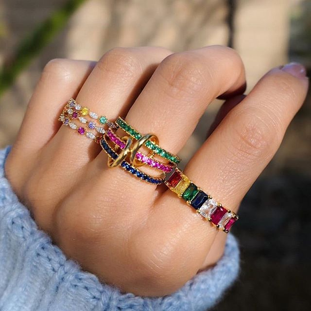 rainbow cubic zirconia cz Ring cz paved band rings Glod filled women finger
