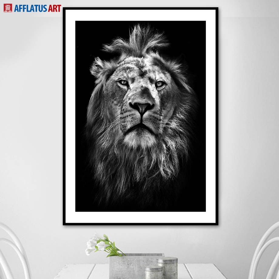 Black White Lion Face Hd Photo Wall Art Canvas Painting Nordic Posters And Prints Animal Pictures For Living Room Boy Decor In Calligraphy