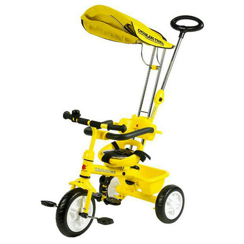 3in 1 white baby tricycle EVE wheel child bike solid wheel and steel frame child ride car of adjust handbar with sunshade kid child 4 in 1 trike tricycle 3 wheel car indoor outdoor bicycle ride for 0 6years old