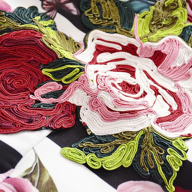 Rose Printed Embroidery Mermaid Dress