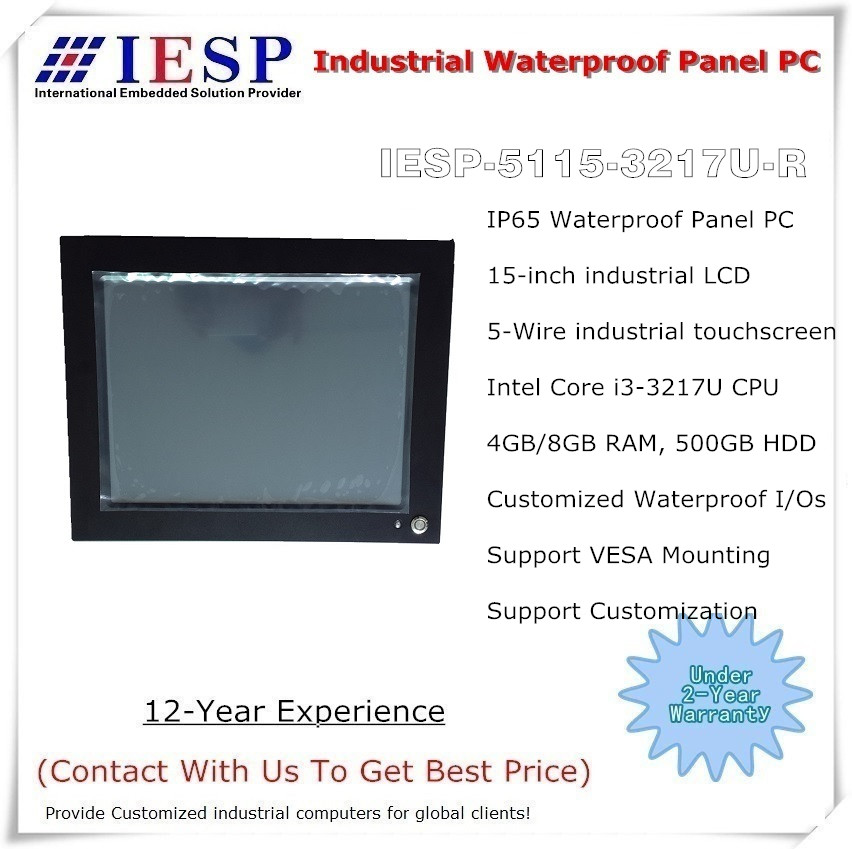 15 inch IP65 waterdichte paneel-pc, Core i3-3217U CPU, 4 GB DDR3 RAM, 500 GB HDD, industriële ventilatorloze paneel-pc, OEM / ODM