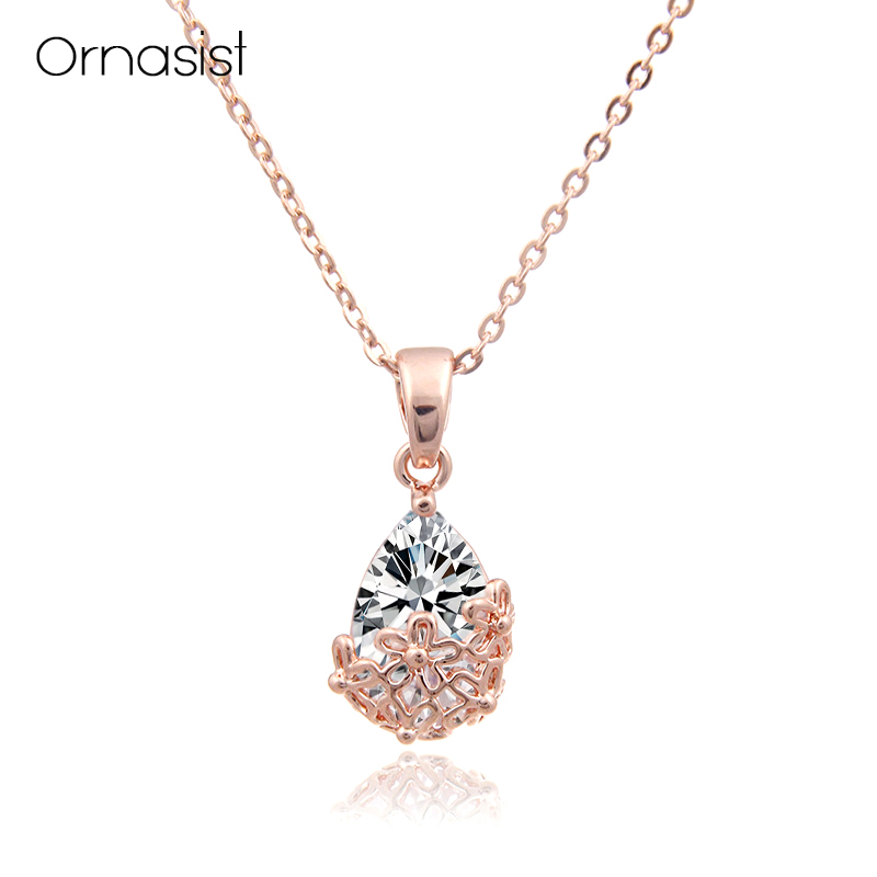 Beautiful Hollow Flower Big Zircon necklace For Women Rose Gold Chains Pendant Necklaces Choker