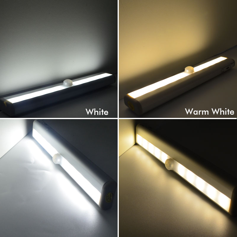 10Leds Led Sensor Night Light SMD3528 Wireless PIR Motion Intelligent Portable infrared Induction Closet Cabinet Night Lamp
