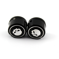 Motorcycle CNC Billet Aluminum Skull Front Axle Nut Cover Cap Black For Harley Sportster XL883 1200