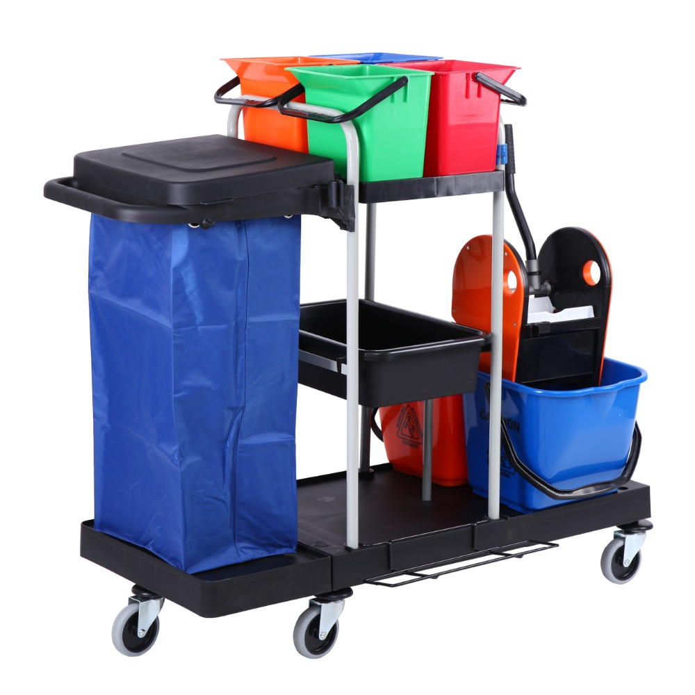 Trolley Cleaning Cart Cleaning Trolley Service Hygiene Trolley System With Buckets Bag For Restaurant Hotel Bars
