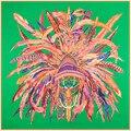 Tamanho: 130*130 cm Hot! sarja lenços de Seda das senhoras 2017 novo charme pena Indiano coroa lenços de seda de impressão digital de tamanho grande das mulheres