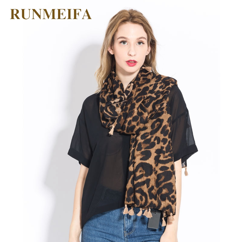 [RUNMEIFA] Fashion Women Domineering Wild Leopard Grain Pattern Sjaals Cotton and Polyester Long Style Cape Style Shawl Scarf