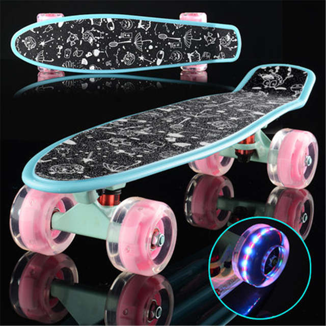 beca0b4af0 Colorful Small Fish Plate Single Rocker Skate Board Four Wheels Mini  Cruiser Skateboard Outdoor Adult Kids Step Transport IE02