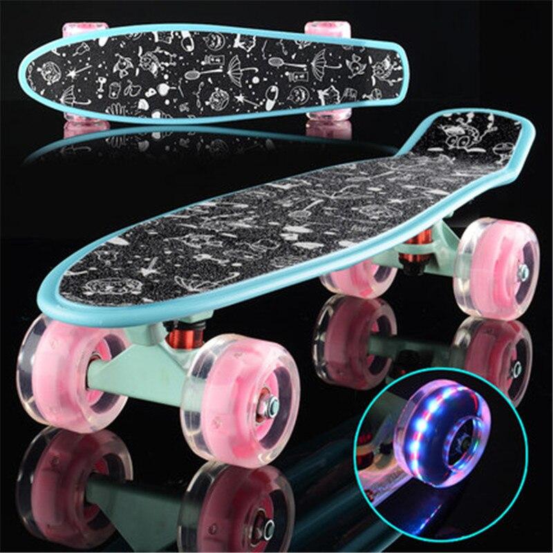 Colorful Small Fish Plate Single Rocker Skate Board Four Wheels Mini Cruiser Skateboard Outdoor Adult Kids Step Transport IE02