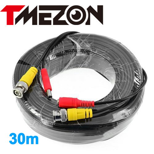 Tmezon BNC Video Power Coaxial Cable 30m 100FT Work for Analog AHD TVI CVI Security Surveillance Camera CCTV Accessories 2pcs 2m 6feet bnc rg59 cctv video coaxial patch cable for camera