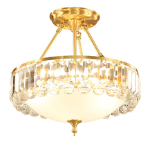 Luxury crystal all copper pendant lights  living room decoration lamps Gold plated lamp body in hotel lighting