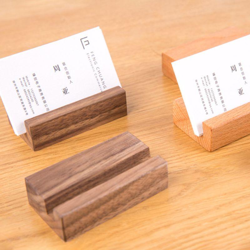 Черный орех Бук деревянная визитная карточка держатель офисный стол деревянный фото стенд имя Памятка зажимы органайзер для хранения Ужин Декор
