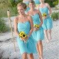 Bridesmaid Dress 2017 Light Sky Blue Sweetheart Pleats Short Zipper Back Chiffon Beach Bridesmaids Handmade  Party Dresses