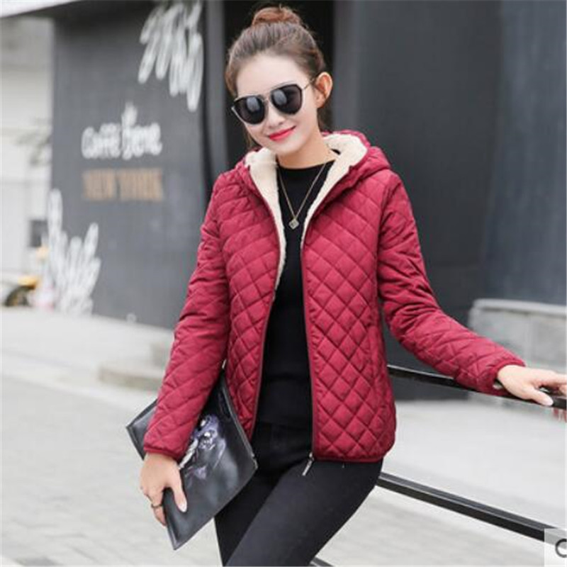 Jacket Coat Parkas Clothing Hooded Black Autumn Winter Cotton Women Basic Casual Slim