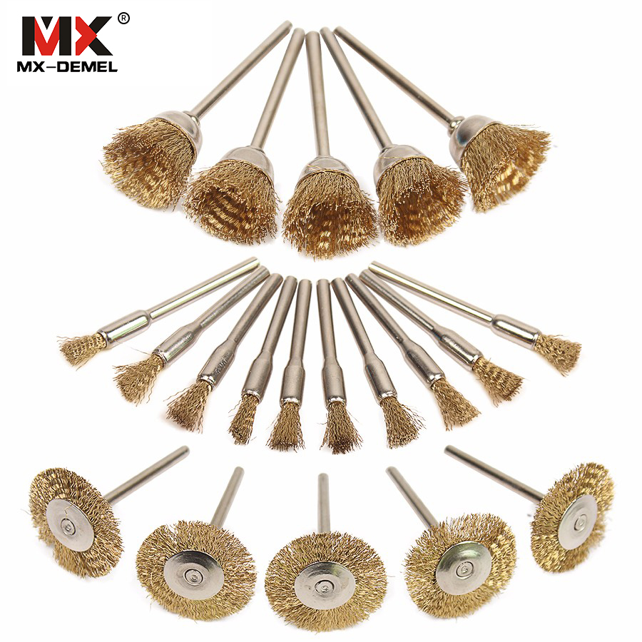 MX-DEMEL  20pcs Brass Steel Wheel Dremel Wire Brush Set Dremel Tools Accessories Burr Abrasive Head Deburring Drill Tools Wheel 2pcs 3d printer feeding wheel squeeze wire wheel push wire wheel feeding wire wheel reprap mendel 3d printer accessories