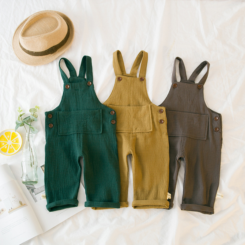 Linen Cotton Toddler Bib Overalls Solid Color Baby Boy Girl Bib Pants Spring Autumn Casual Loose Infant Trousers Drop Shipping emmababy toddler infant baby girl boy pants wrinkled cotton vintage bloomers trousers legging pants boby clothing