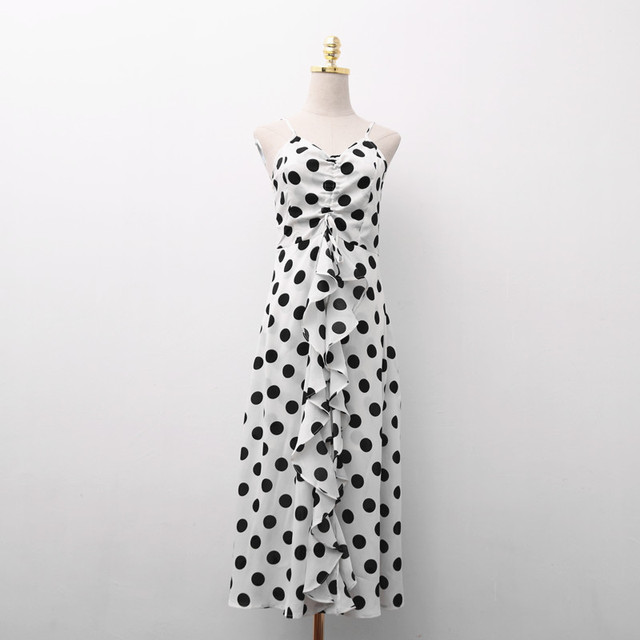 d5fb0de417a6 PERHAPS U white black polka dot strap sleeveless ruffle drawstring v neck  empire maxi long dress summer D0585