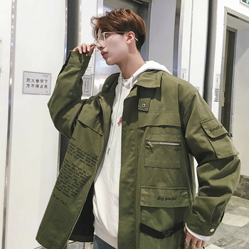 Fashion Tooling Style Jacket Trend Street Hip pop Style Print Letter Coat Casual Loose Comfortable Mens Outwear Size M-2XL