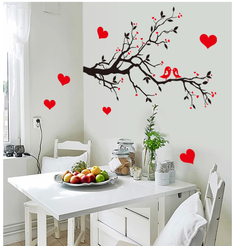 7179 Free Shipping Diy Wall Art Decal Decoration Love Birds Tree Branches Wall Stickers Home Decor