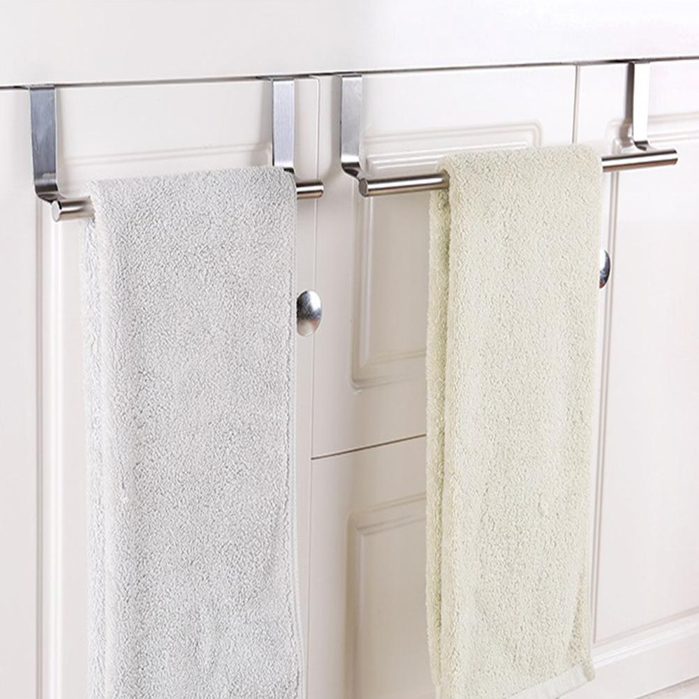 Kitchen Stainless Steel Door-hanging Towel Rack Single Rod Nail-free Duster Cloth Hanger