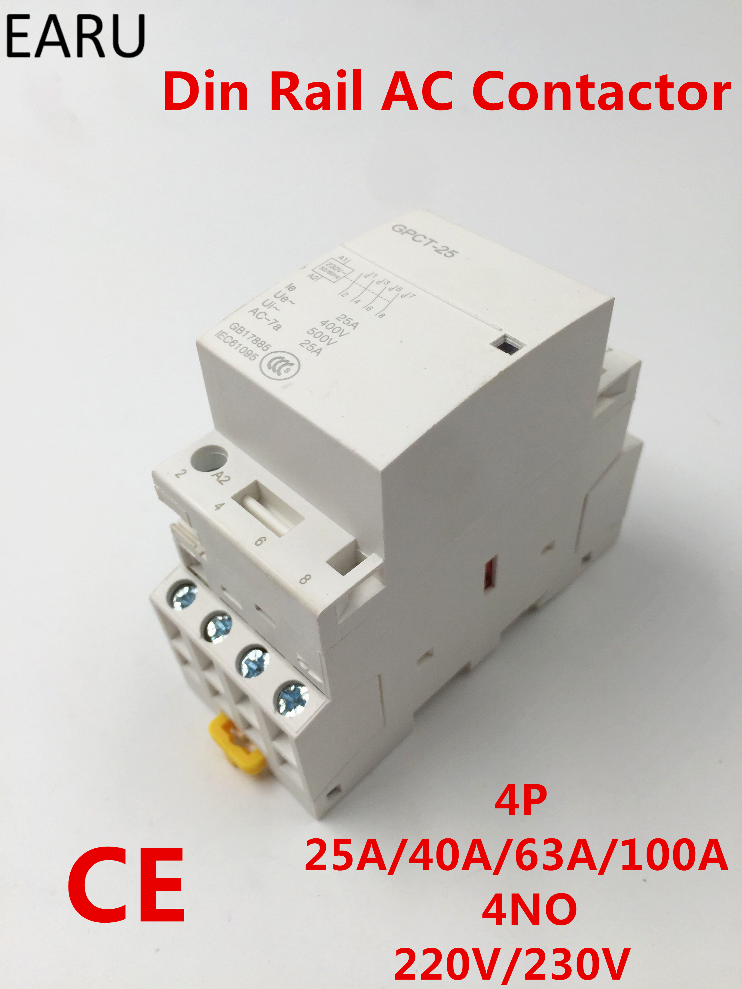 GPCT1 4P 25A 40A 63A 100A 220V/230V 50/60HZ Din rail Household Modular ac contactor Module 4NO for Home Hotel Resturant free shipping gpct1 2p 16a 25a 220v 230v 50 60hz din rail household ac contactor 2no for household home hotel resturant