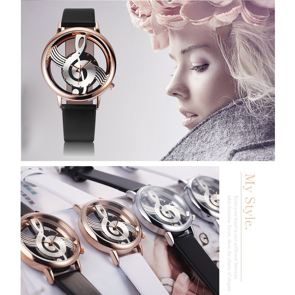 Unik Woman Quartz Analog Hollow Musical Note Style läder WristWatch - Damklockor - Foto 3