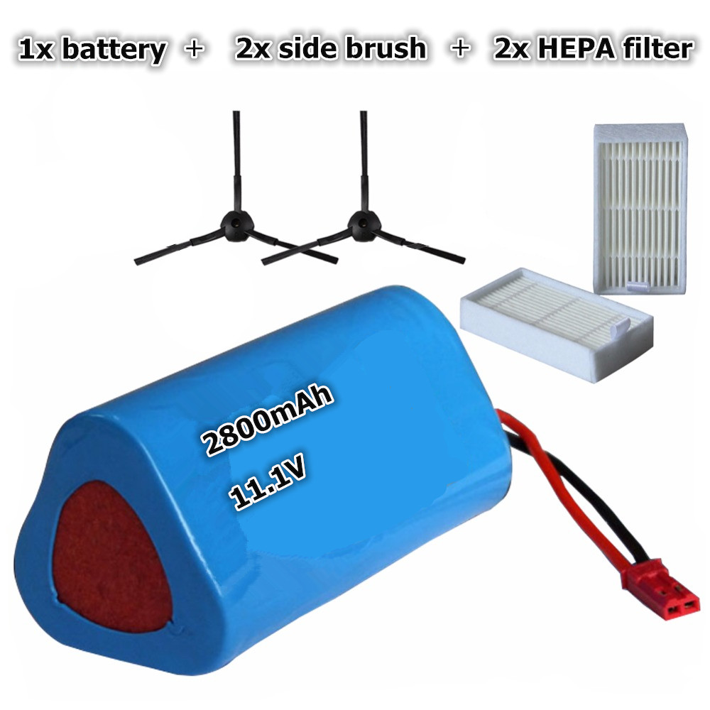 1x 2800mAh Battery pack + 2x Robot Vacuum Cleaner HEPA filter + 2x Side brush for ilife ilife V3 V3+ V5S V5 PRO CW310 3 6v 2400mah rechargeable battery pack for psp 3000 2000