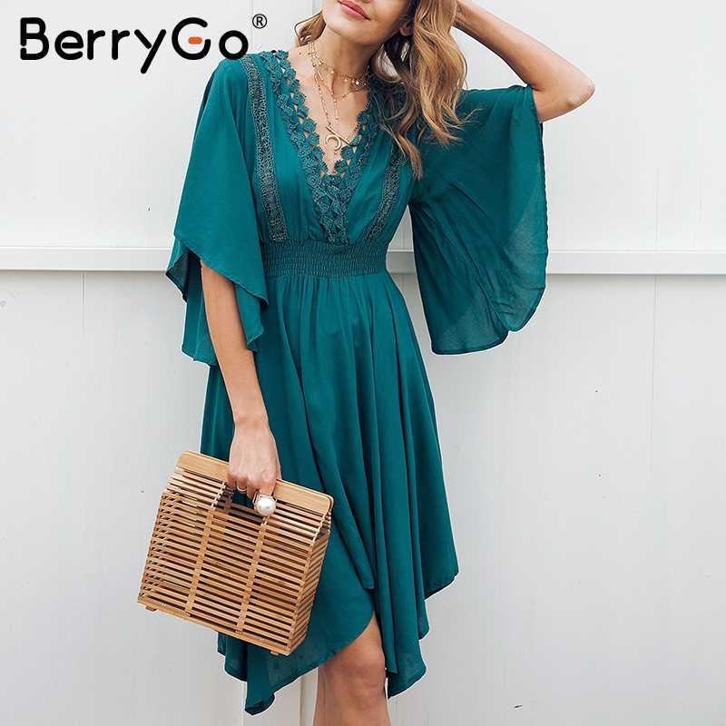 BerryGo V шеи Кружева выдалбливают летнее платье Женский ассиметричный, с высокой талией Миди Повседневное платье уличное Платье женское 2018
