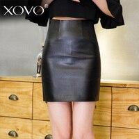 Овечьей шкуре юбка genine Кожа блеском юбки для Для женщин пикантная короткая юбка Для женщин s 2018 черный Высокая Талия кожаная юбка