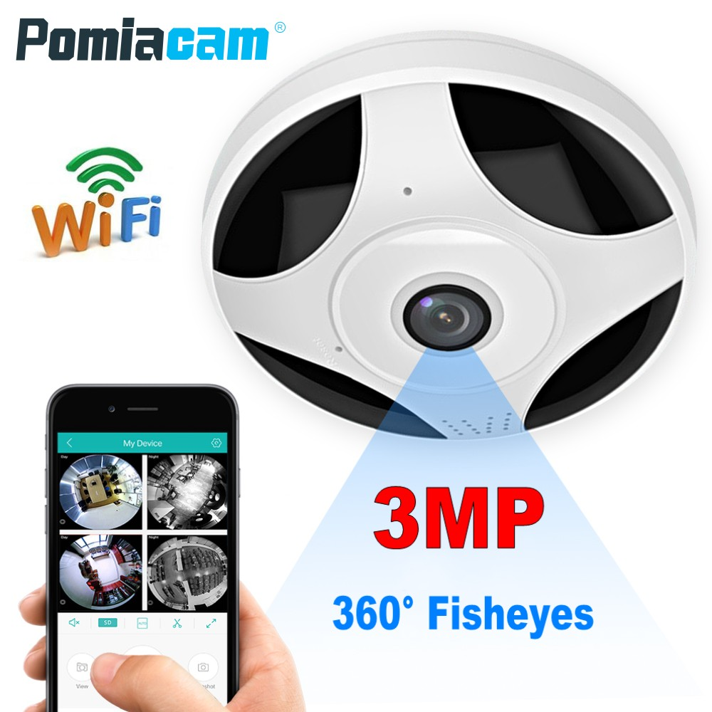 3MP 3D VR CCTV WIFI IP Camera 360 Degree Fisheye Panorama mini Camera Night Vision Wireless Home Security Surveillance Camera