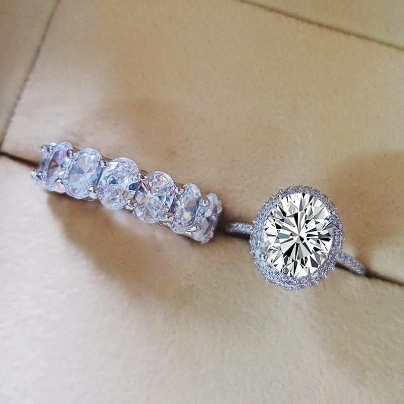 Moonso Real 925 bague de mariage ovale en argent Sterling pour femmes ensemble de fiançailles de luxe bande éternité bijoux zircone LR5350S