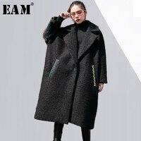 [EAM] 2018 yeni bahar kış yaka uzun kollu siyah geri renkli bölünmüş ortak büyük boy wollen coat kadınlar ceket moda JD97401