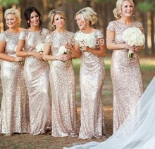 Champagne 2017 Cheap Bridesmaid Dresses Under 50 Mermaid Cap Sleeves Open Back Sequins Sparkle Long Wedding Party Dresses