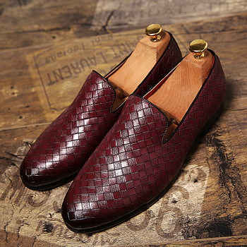 Merkmak Men Leather Shoes Luxury Brand Casual Weave Loafers Slip On Mens Dress Shoes Big Size 37-47