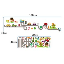 Cartoon Car Bus Highway Track Wall Stickers For Kids Rooms Children's Bedroom Living Room Decor Wall