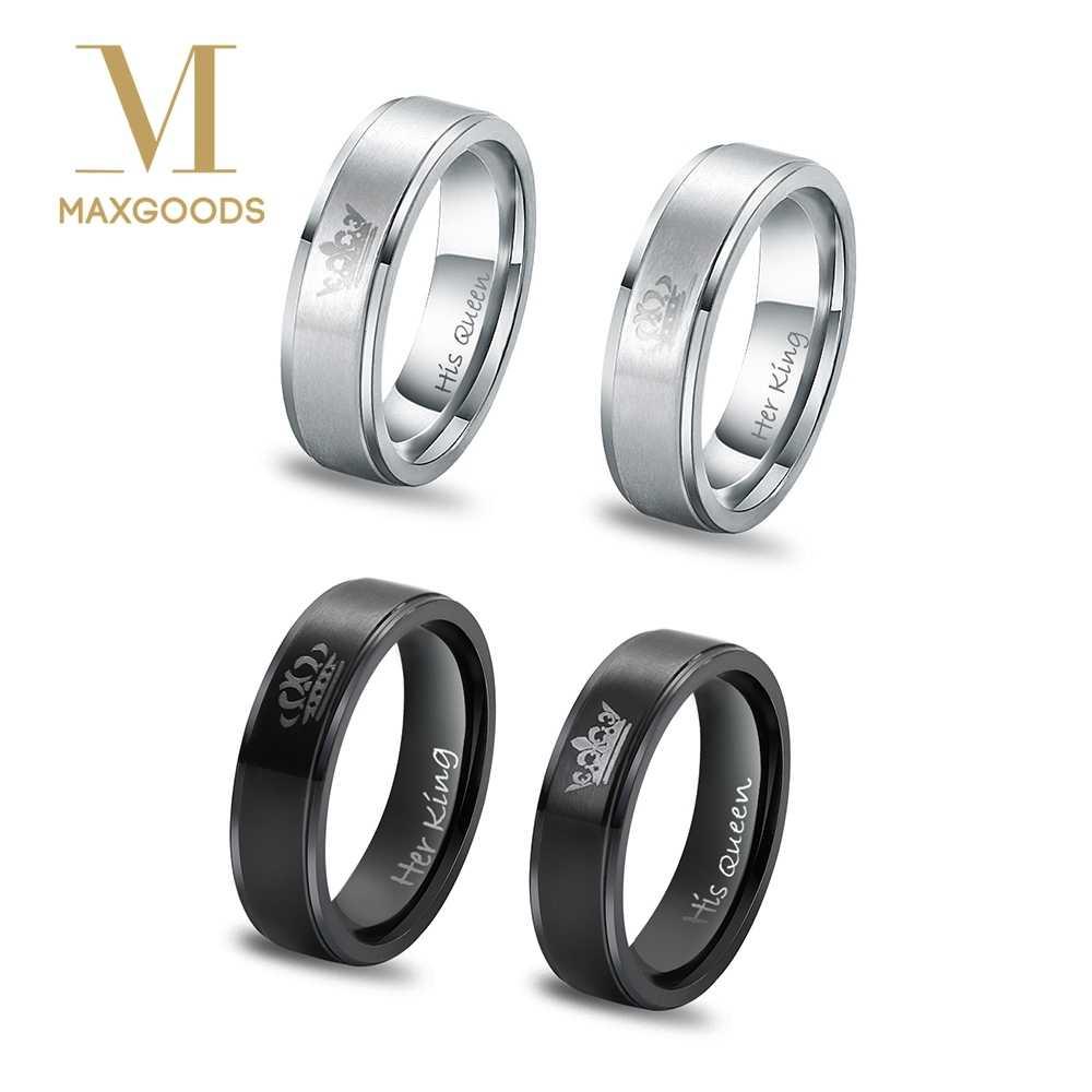 1 個シックなリングステンレス鋼彼女王と彼女王カップルリング結婚指輪カップルジュエリー