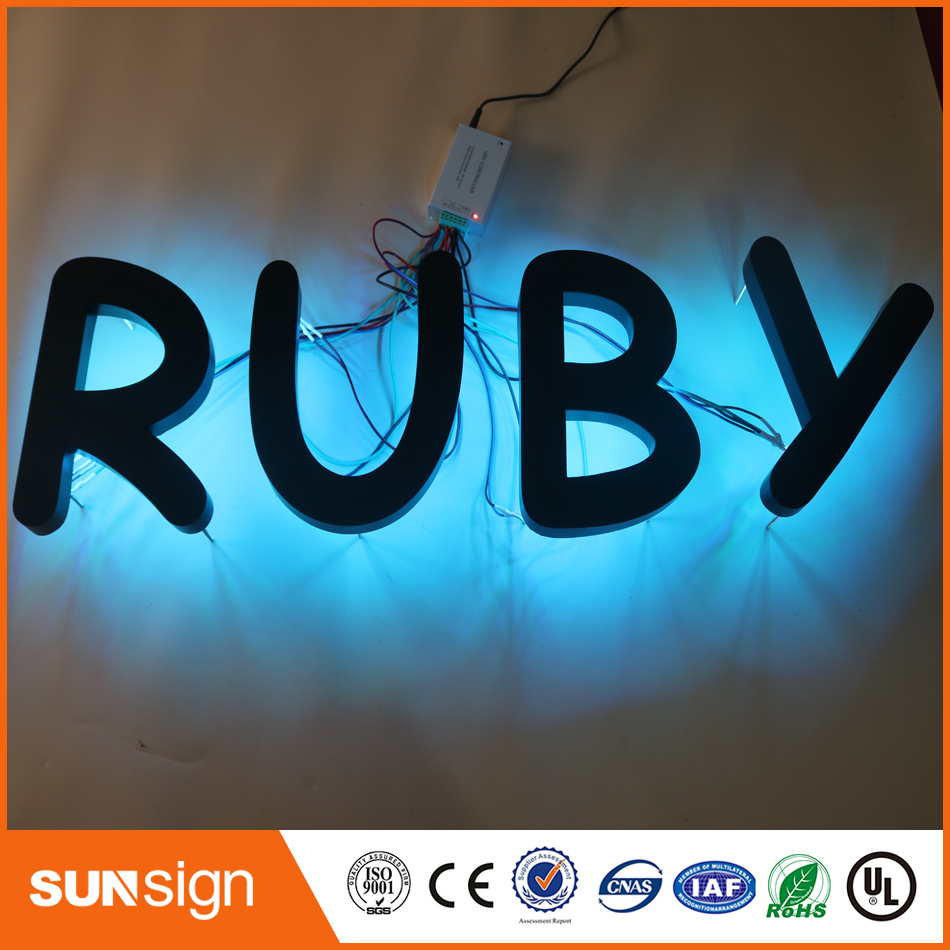 Customized Outlet Outdoor Stainless Steel Painted Hot Sale 3D Backlit  LED Channel Letter Sign