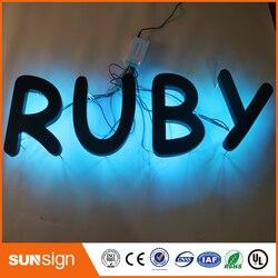 Su misura presa esterna in acciaio inox verniciato a vendita calda 3D Retroilluminato A LED Lettera di Scanalatura Segno