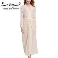 Burvogue Womens Nightrobes Transparent Sleepwear Long Sleeve Robes Pajamas Nightwear Femme Lounge Pyjama Robe One Size