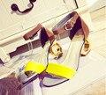 5 .. Europea verano de las mujeres sandalias con una palabra hebilla sandalias 2017 Marca de moda de fondo Rojo sandalias de tacón alto zapatos mujer