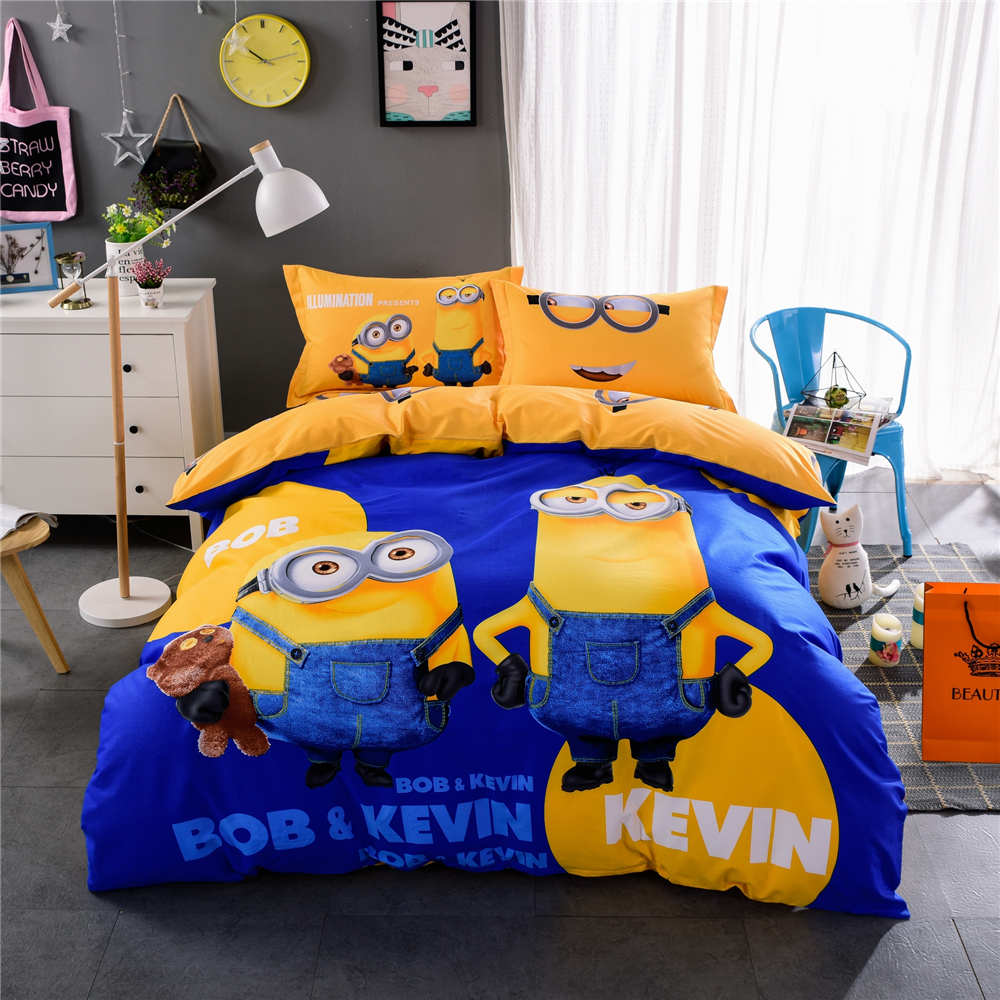 Yellow and blue bedding - Minions Printed Bedding Set Quilt Duvet Covers Bedspreads Childrens Boys Bed Twin Full Queen King Size Cotton Fabric Blue Yellow