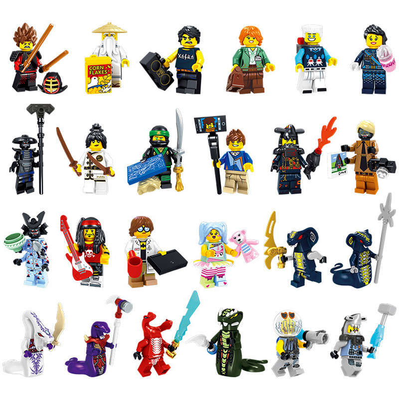 2018 NEW 24PCS Compatible LegoINGlys NinjagoINGlys Movie Sets NINJA Lloyd Kai Jay Cole Zane Nya WU Snake Weapons Building Blocks ninjagoeingly cole jay cole zane lloyd sensei wu nya lloyd nadakhan dogshank blocks toys for childre compatible with legoeinglys