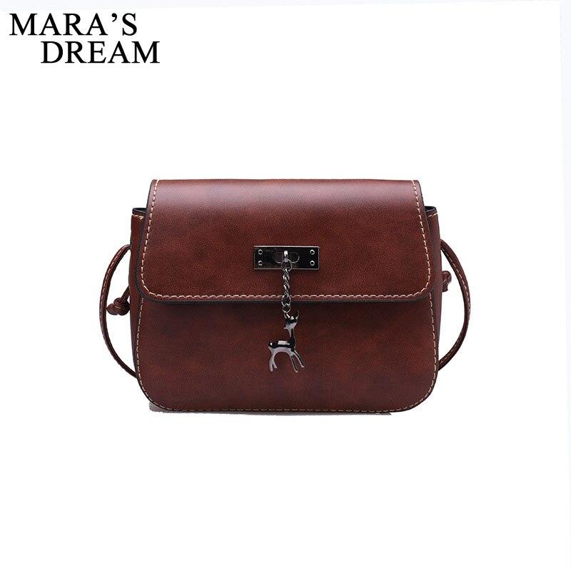 Mara's Dream Women Messenger Bag 2018 Vintage Small Leather Waterproof Handbag Vintage Casual Deer Metal Decorated Crossbody Bag metal deer detail crossbody bag