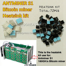 Cooling kit(72pcs) For Bitcoin Miner Antminer ASIC 180GH/s DIY Aluminum Heatsink Cooler Reduce About 10degreeC, Free Ship