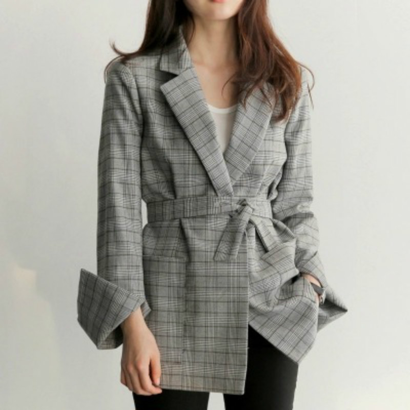 Casual Houndstooth Blazers Lapel Plaid Jacket Ol Long Checked Coat Woman Suits Loose Double-breasted Cardigan Tops With Belt Easy And Simple To Handle