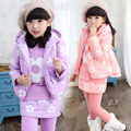3 PCS Children Suit 2015 Fashion Winter Girls Coat Thickening Clothing Set Plum Blossom Flower Print Warm Three-Piece Suit