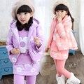 3 PCS crianças terno 2015 meninas de inverno moda casaco espessamento roupas definir flor flor de ameixa imprimir quente terno de três peças