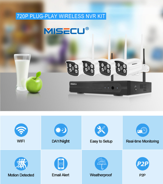 MISECU Easy installation plug&play 2.4G wifi KIT 720P 1080P VGA/HDMI 4CH NVR Wireless P2P 720p WIFI IP Camera Waterproof CCTV