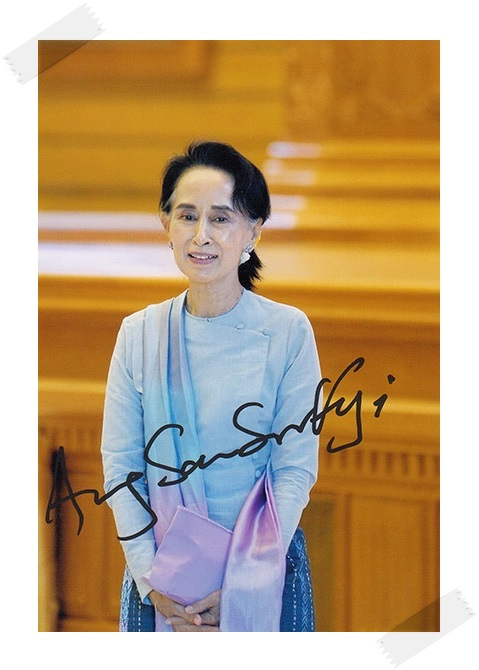 Aung San Suu Kyi autographed signed photo 4*6 inches authentic freeshipping  01.2017